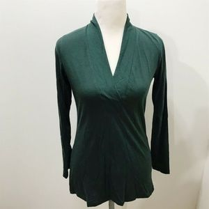 CAbi Placket Tee Size XS Dark Green Vee Neckline